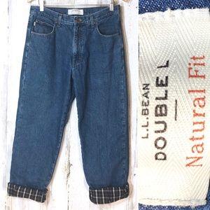 L.L. Bean Flannel Plaid Lined Men's Jeans
